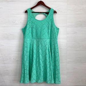 Lane Bryant Mint Blue Lace Crochet Fit Flare Dress